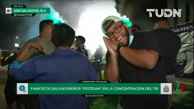 El Salvador fans outside Mexico team hotel
