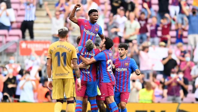 Ansu Fati celebrates his goal