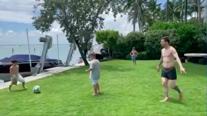 Lionel Messi family playing soccer