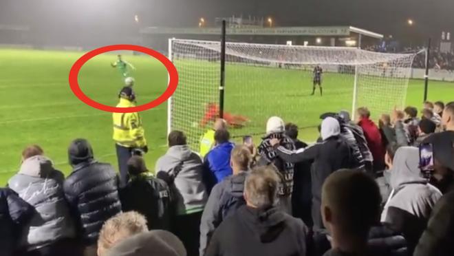 Steward Hit In The Face Penalty Kick