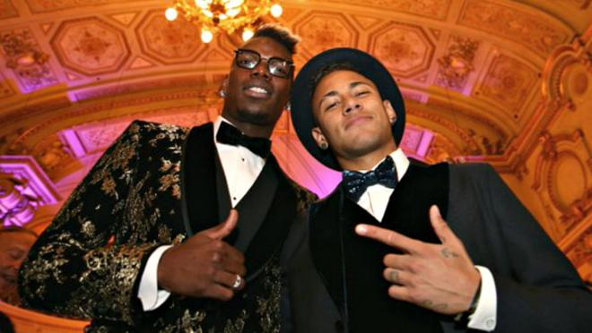 Paul Pogba and Neymar at Ballon d'Or 2015