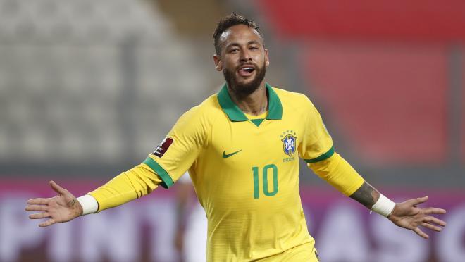 Neymar celebrates Brazil goal