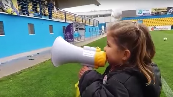 Little Girl Leads Alcorcon Fans