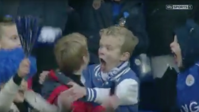 Leicester youngsters Celebrate Mahrez Goal