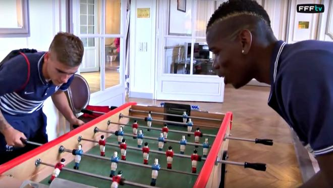 Paul Pogba and Antoine Griezmann play foosball