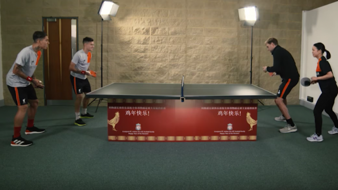 Phil Coutinho and Roberto Firmino take on Jurgen Klopp and Lie Haoyu in ping pong.