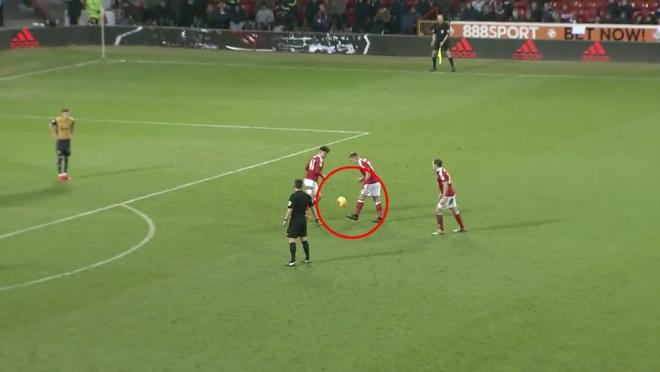 Ben Osborn flicks up free kick and volleys it