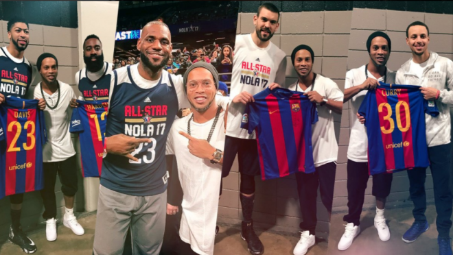 Ronaldinho at the NBA All Star Game