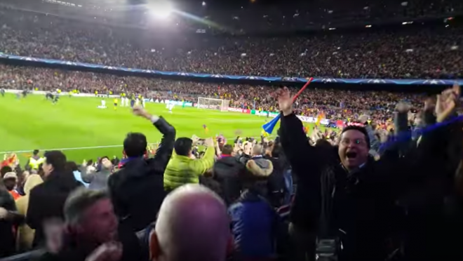 Inside the Camp Nou during Sergi Roberto's goal