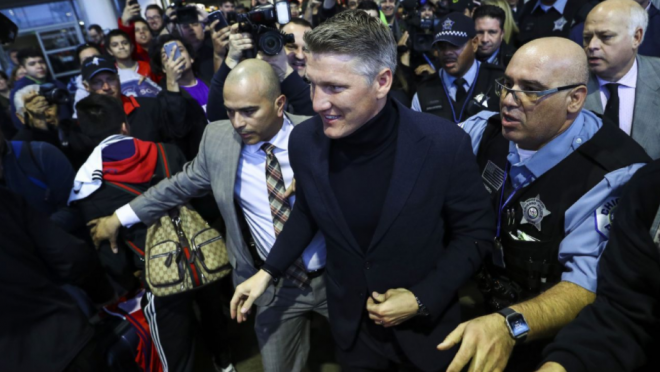 Schweinsteiger's Arrival At Chicago Airport