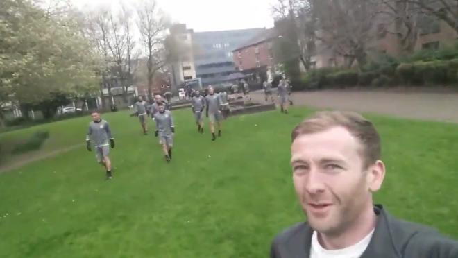 Fan runs into Anderlecht in Manchester Park