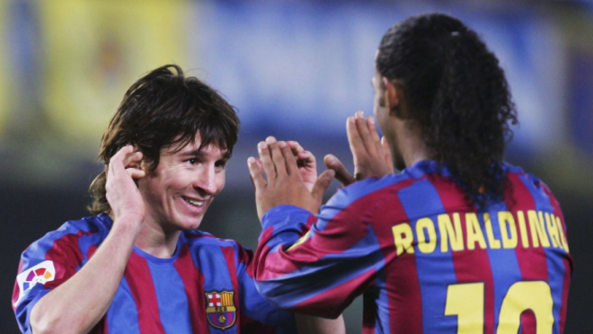 Lionel Messi first goal for Barcelona