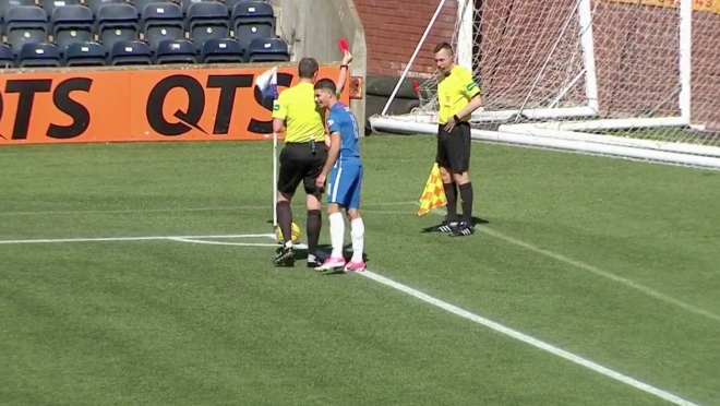 Scottish linesman vomits and gets Red Card