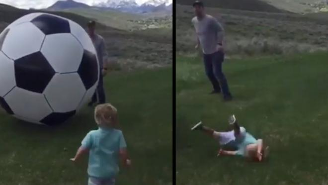 Dad destroys son with giant soccer ball