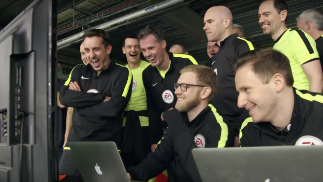 Gary Neville and Jamie Carragher Try To Be Linesmen