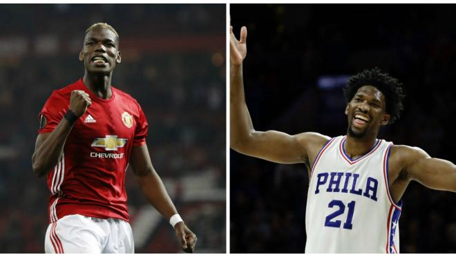 Paul Pogba Plays Basketball With Joel Embiid