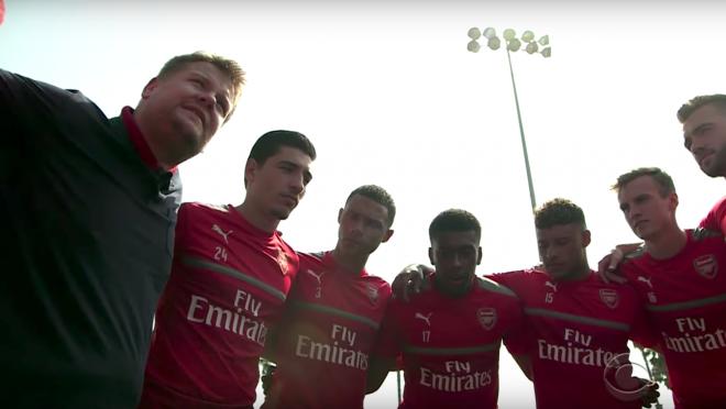 James Corden Arsenal, James Corden coaches Arsenal