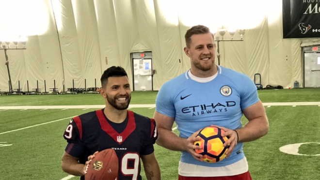 Sergio Aguero visits Houston Texans