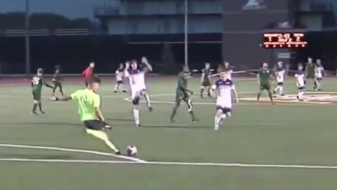 Goalkeeper kicks ball off opponents face