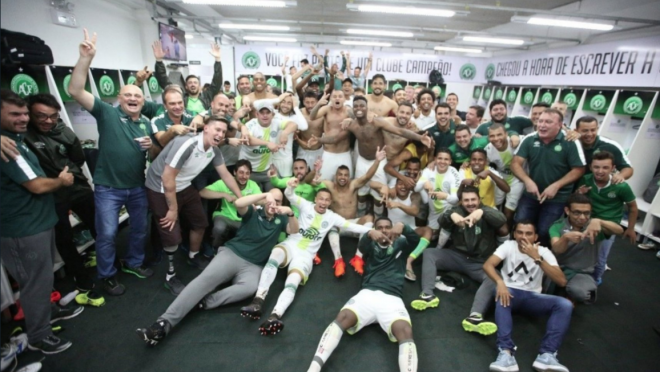 Chapecoense celebrate avoiding relegation