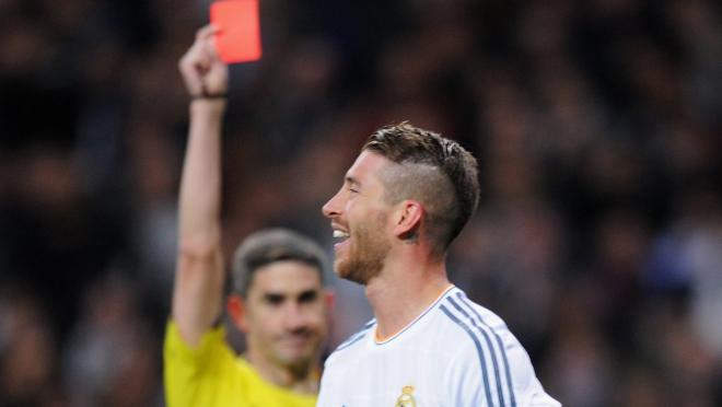 Ramos receives another red card.