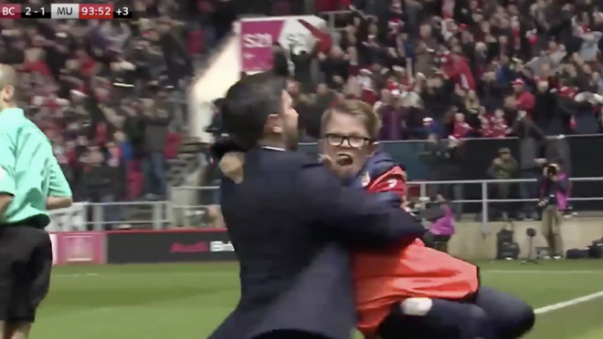 Bristol City Manager Celebrates With Ball Boy