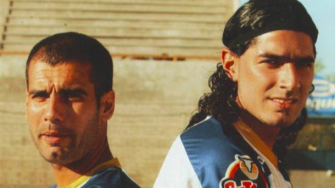 Pep Guardiola standing with Dorados teammate