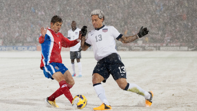 Soccer In Snow
