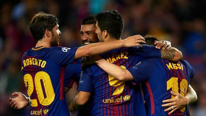 Barcelona celebrates a commanding victory.