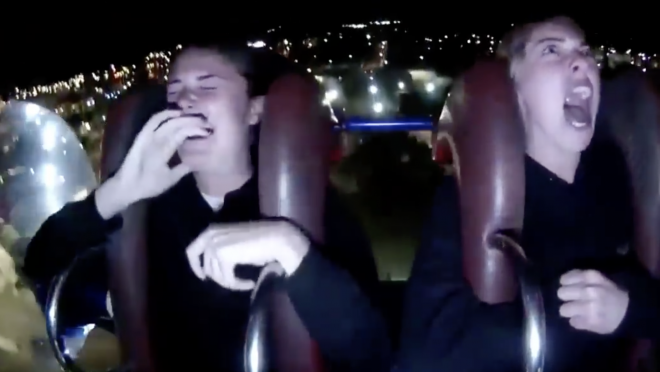 Two Florida State Soccer Players Different Reaction To Theme Park Ride