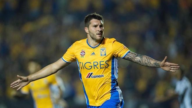 Andre-Pierre Gignac celebrates a goal for Tigres
