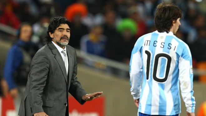 Lionel Messi and Maradona play in match together