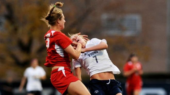 College soccer player punch, hair pull