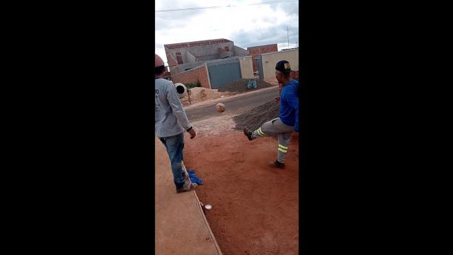Kick Ball Into Cement Mixer