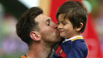 Thiago Messi and his father, Lionel Messi