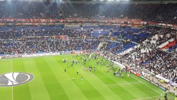 Fans invade the pitch