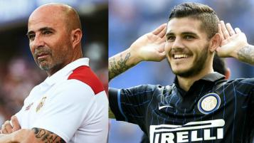 Jorge Sampaoli and Mauro Icardi