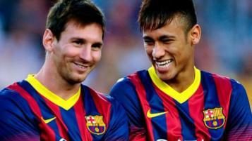 Messi, Neymar laughing
