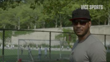 Carmelo Anthony Visits MLK High School Soccer Team in New York