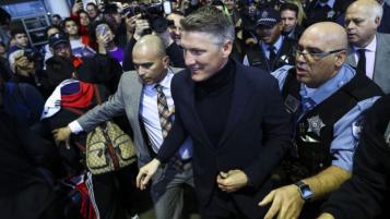 Schweinsteiger's Arrival At Chicago Airport