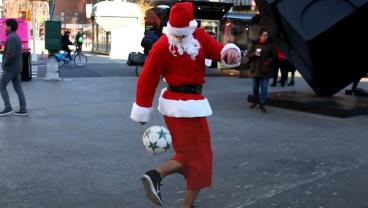 Soccer Santa Roams NYC