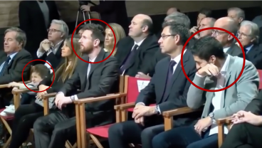 Thiago Messi Hilarity Causes Dad And Luis Suarez To Lose It During Golden Shoe Ceremony