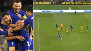Greece's Maniatis Scores From Inside His Own Half, 65 Yards Out