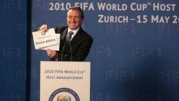 Tim Roth as Sepp Blatter is shown announcing the award of the 2010 World Cup to South Africa.