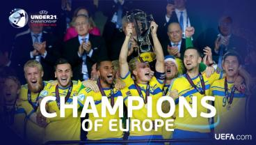 Sweden are shown hoisting the U21 Euro trophy.