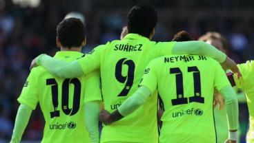Neymar, Suarez, Messi go arm in arm.