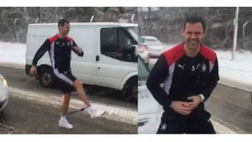 David McCracken Works Out In Traffic . . . In The Middle Of A Snowstorm