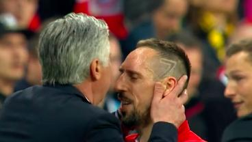 Ancelotti Shows He's The Best Man Manager In Football By Soothing Franck Ribery With A Kiss