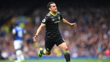 Pedro celebrates after a left-footed wonder goal for Chelsea against Everton
