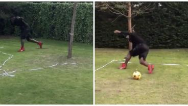 Mario Balotelli Tries To Kick A Ball After Doing A Dizzy Bat